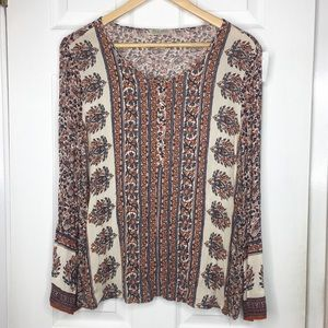 Lucky brand Boho long sleeve blouse size medium